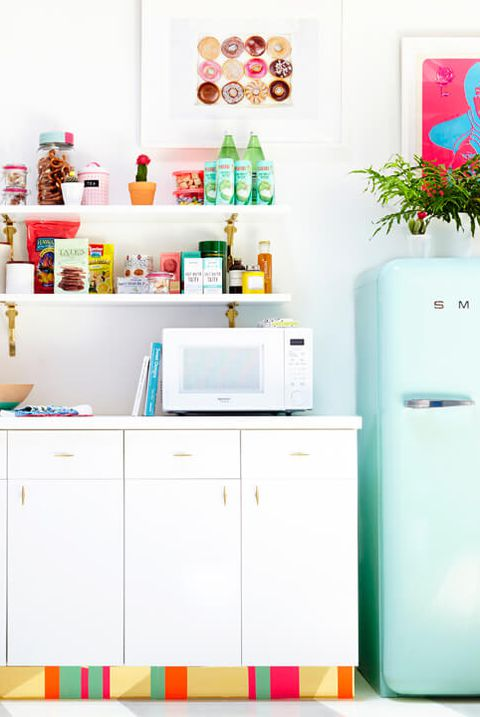 22 DIY OvertheMicrowave Plywood Shelving for Storing Pantry and Snacks with an Open Display
