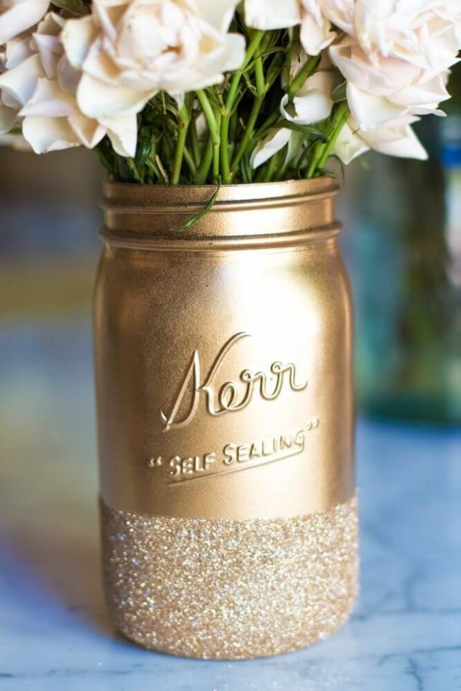 14 DIY Super Artistic Mason Jar Flower Vase with Cool Gold Paint and a Glitter Dipped Bottom Design