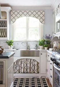 35 DIY UndertheSink Cabinet and Window Curtain Set in Contemporary Trellis Prints Successively w ...