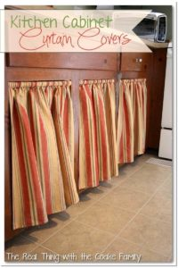 11 DIY UndertheSink Kitchen Cabinet Curtains in Recessed Style with Warm and Nice Neutral Stripe ...