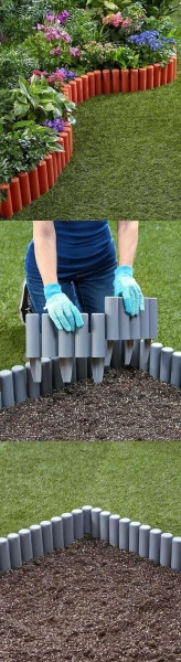 38 Dreamy Garden Edging Look with Painted PVC Pipe Stakes Around the Vibrant Flower Garden