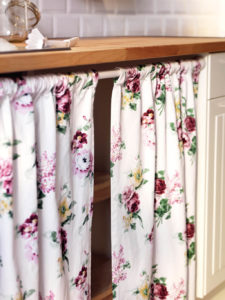39 Easy Recessed DIY UndertheSink Cabinet Curtain in Split up Pattern with Beautiful Floral Desi ...