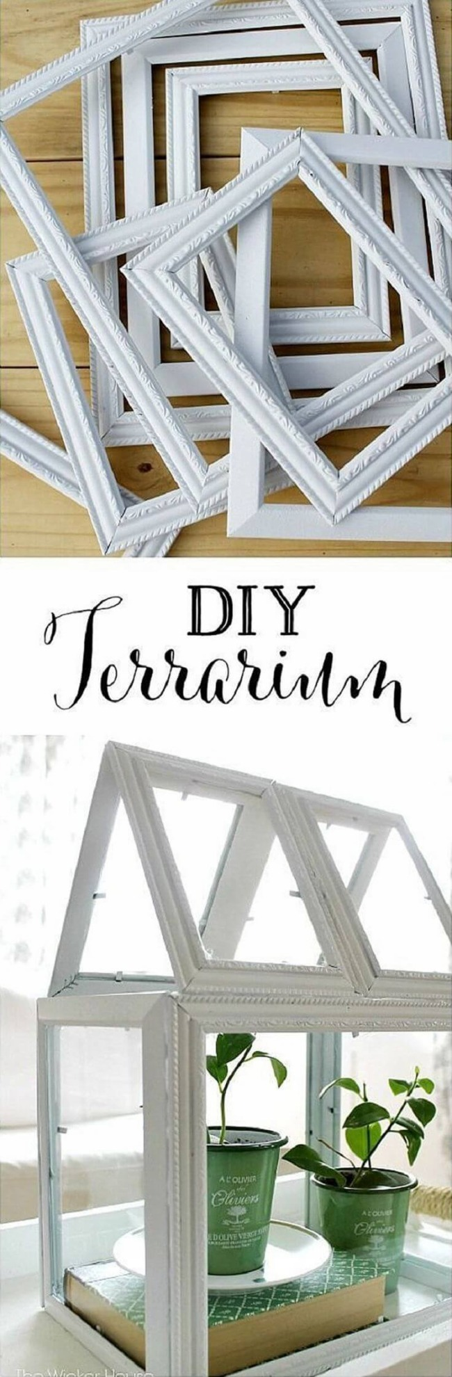 26 Elegant White Terrarium made of Old Frames and Glue with a Coverless Open Pattern