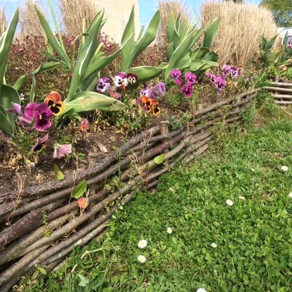 23 Elevated Raised Garden Set Pattern with RusticallyMade Woven Branch Fence Edging