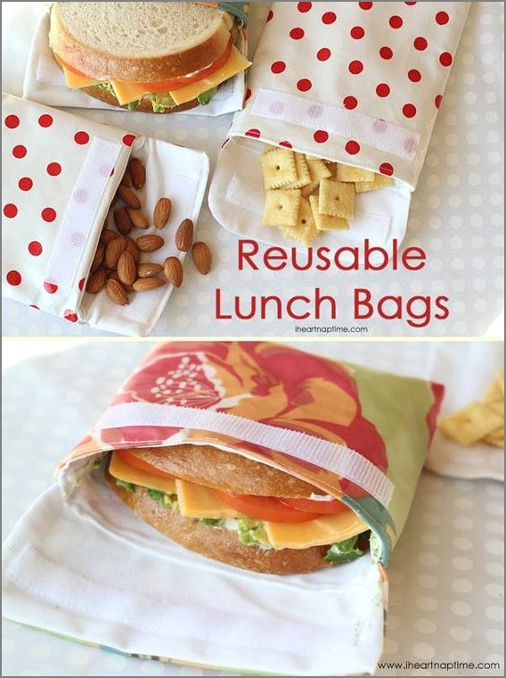 10 Fabric Made Utterly Functional and Reusable Lunch Bag with Flap Open Style on Laminated Cotto ...