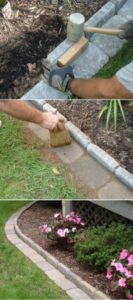26 Fantastic Flower Bed Edging Idea with Paver Stone Set inside the Ground