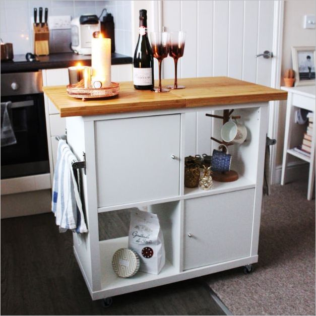 6 Fantastic IKEA Kallax Kitchen Island Hack on Wheels with a ...