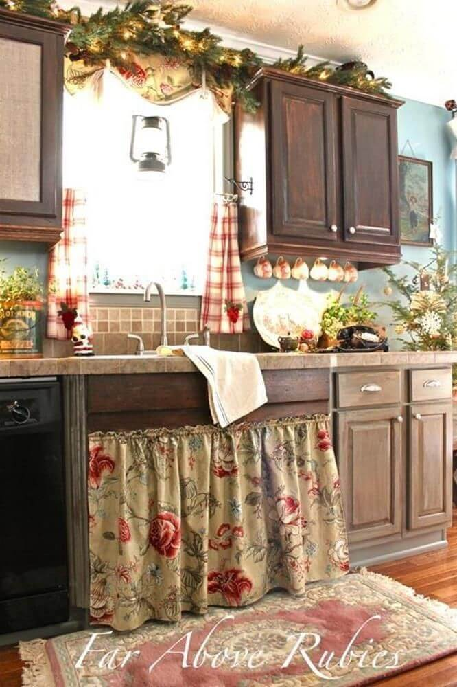 1 Full Flared DIY UndertheSink Cabinet Curtain with Pretty Floral Prints