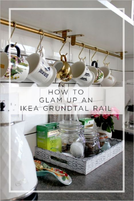 35 Glam up your Kitchen Utensils with a DIY IKEA Grundtal Rail Vertical Shelf with Hooks to Hang ...
