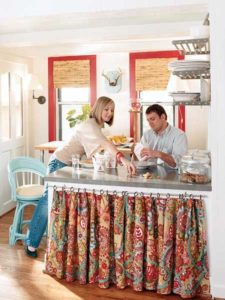 32 Highly Flared DIY Synthetic Kitchen Island Curtain with Nice Prints Hanging Through Simple Cu ...