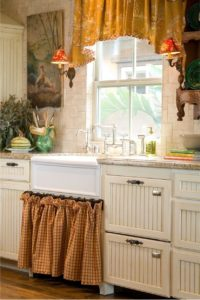 37 Highly Layered DIY UndertheSink Cabinet Curtain with Traditional Mustard Colored in Geomatric ...