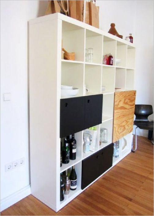 39 Huge Kitchen Storage with Numbers of Shelves Made of Old IKEA Bookshelf