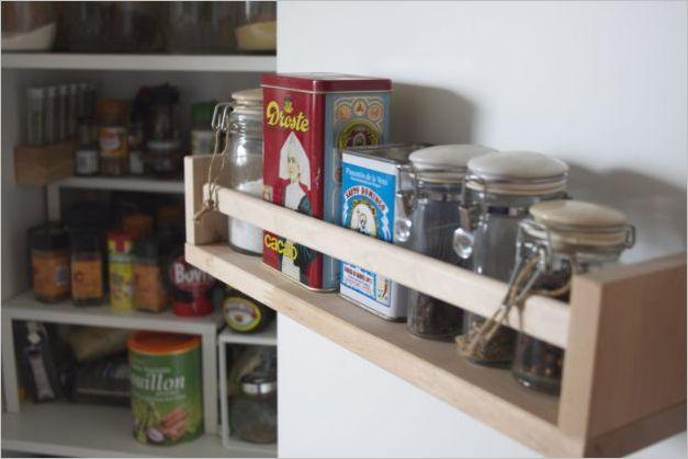 10 IKEA Kitchen Storage Solution with DIY Spice Shelf inside the Cabinet Door