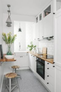 11 Kitchen Area Compact with Tiny Dining Space Adjust with Eating Shelf and Two Barstools