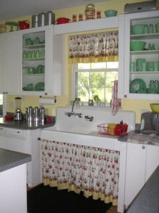 34 Natural DIY Kitchen Window and Cabinetry Curtain Set with Plain Flares in Graceful White Shad ...
