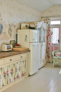 27 Nicely Flared DIY UndertheSink Cabinet Curtain with Romantic Floral Prints Suits Best on Rust ...