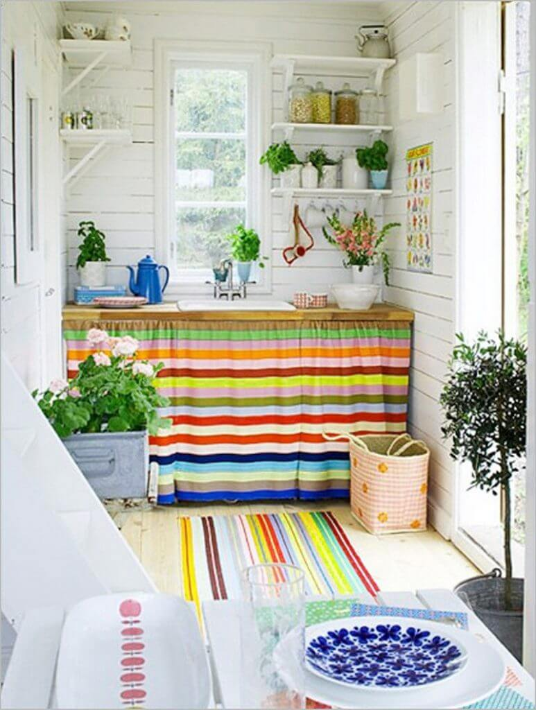 21 Plain DIY Curtain for UndertheSink Cabinet in Bold Bright Striped Fabric and with Small Layer ...
