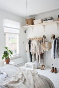 32 Plain Open Closet Organization with Easy to Move Plastic Racks and Extended Shelf Organized w ...