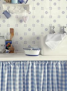 38 Plain White Blue Printed Kitchen Cabinet Curtain with Several Flares Twining with the Tiling  ...