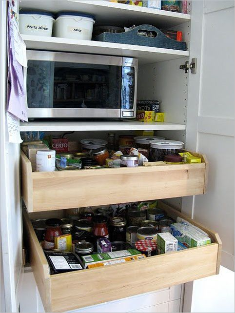 5 Pullout DIY IKEA Drawers as Under the Microwave Storage for your Kitchen Containers