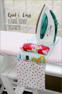 35 Quick Simple DIY Ironing Board Organizer with Wide Side Pockets as a Fast DIY Sewing Project