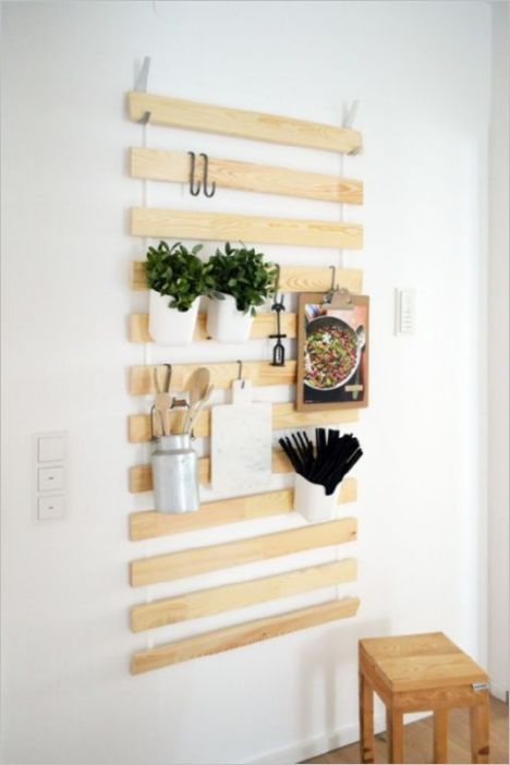 1 Recycled Bed Slat Turn IKEA Wall Hanger as Vertical Kitchen Storage Hanging on Sturdy Hooks