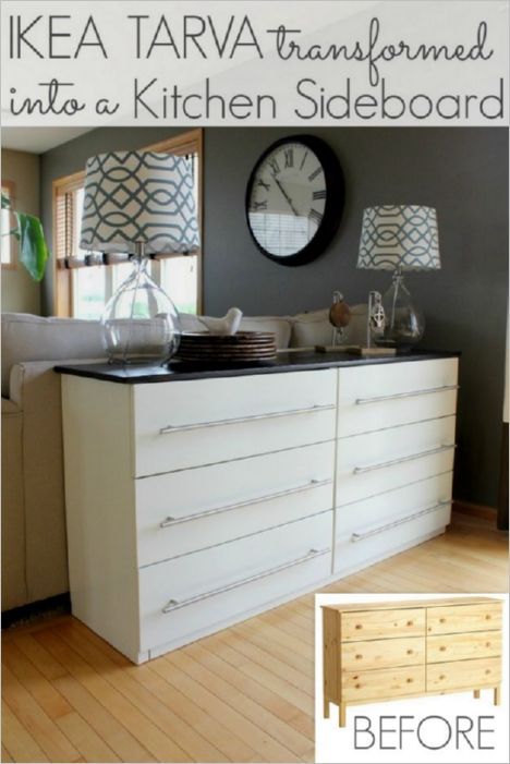 38 Repurposed IKEA Tarva as Kitchen Sideboard with Pullout Style and an Extended Countertop