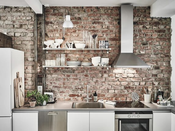3 Rustic BrickStyle Kitchen Look with Reclaim Wood Dcor or Vintage Tile Base