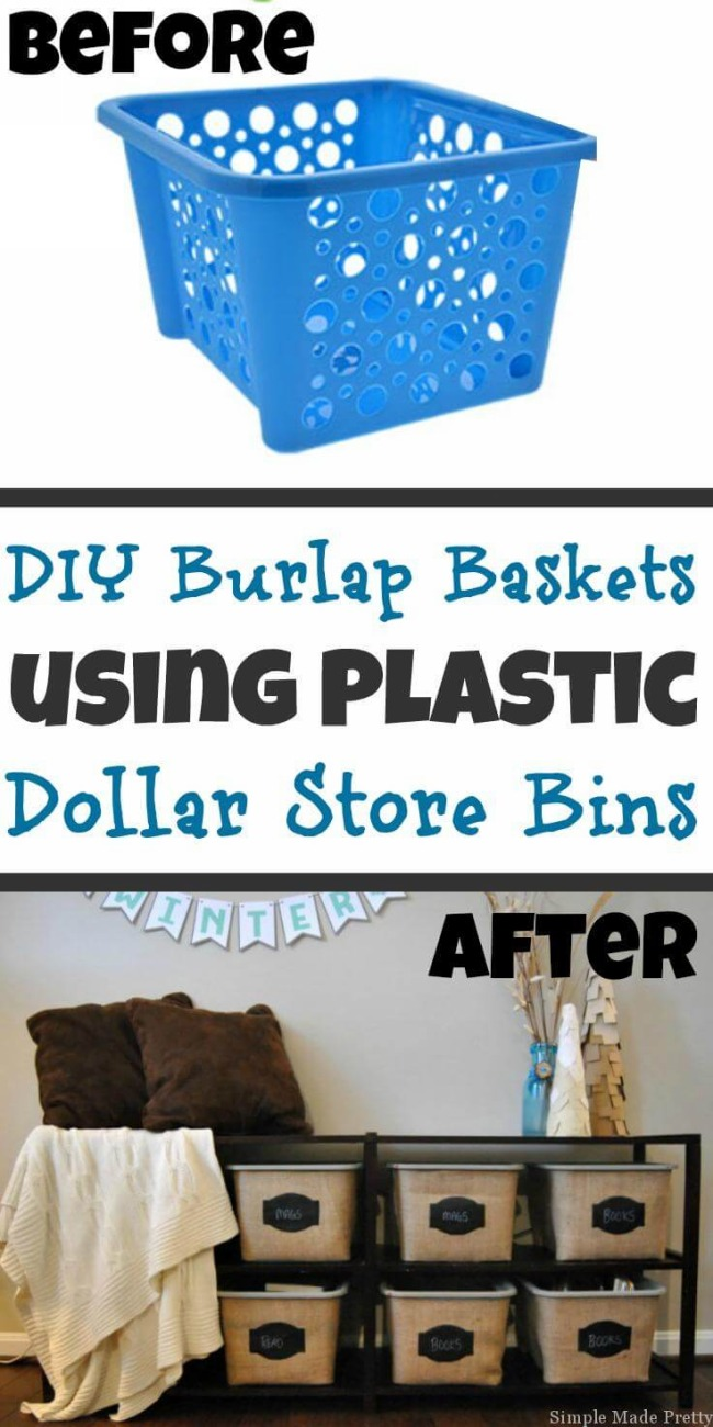 12 Rustic Burlap Bins as the most Useful DIY Dollar store Project Plastic Laundry Basket and som ...