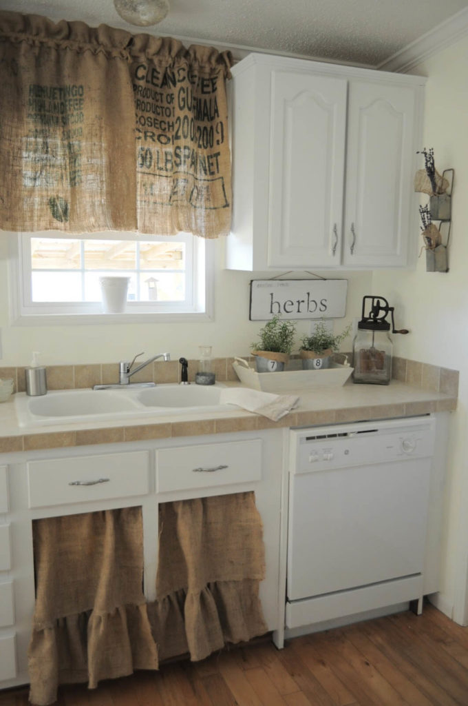 17 Simple Burlap Cabinet Curtains for both Kitchen Widow and UndertheSink Cabinet with Alphabeti ...