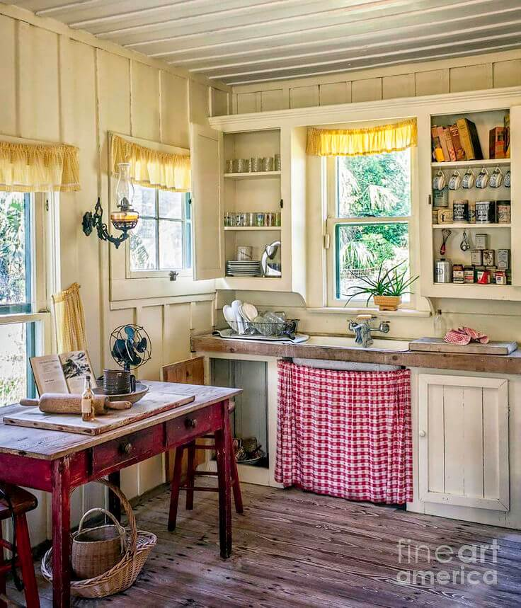 5 Simple DIY CountryStyle Gingham UndertheSink Cabinet Curtain with Small Flares in Radiant Red  ...