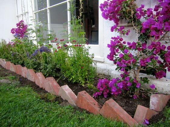 14 Simple yet Catchy Butterfly DIY Garden Edging Style with Uniquely Turned Red Brick Edge