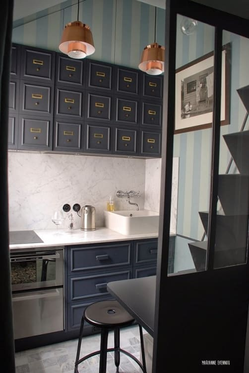 17 Small Kitchen Organization with Persian Style Upper Storage Cabinets which are Designed in Ca ...