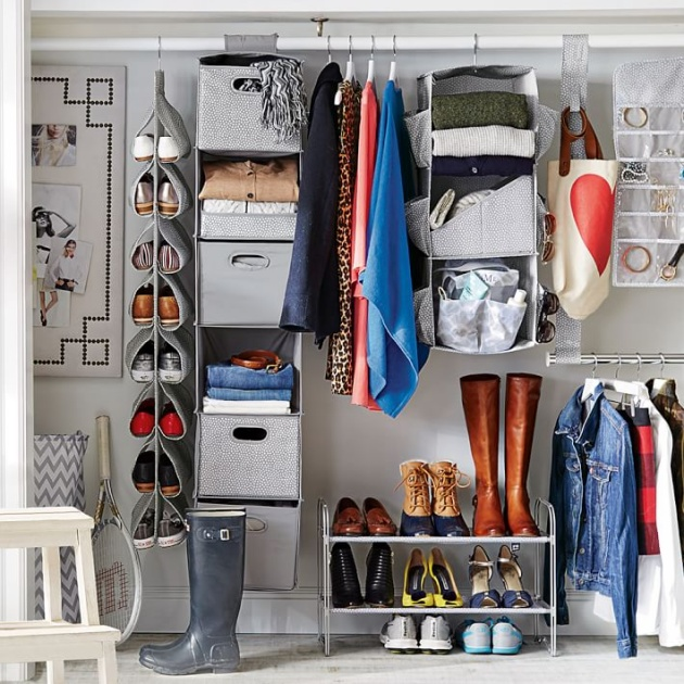 3 Smart and Quick Eclectic Storage Solution for Open Closet Organization Process