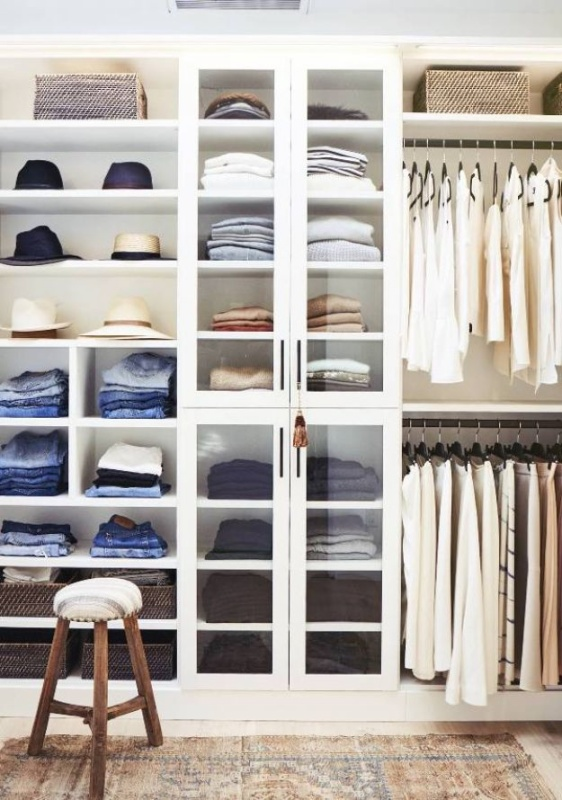 38 Smart Vertical Storage Cabinet for Easy Closet Organization with a High Shelf above the hangi ...