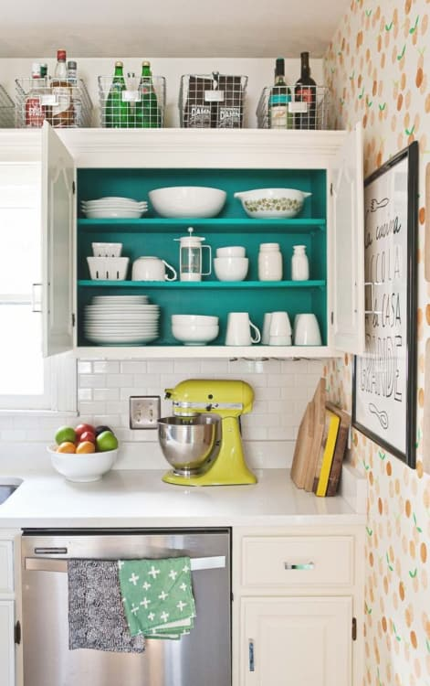 37 Super Chic Kitchen Cabinet Designing with Deep Paint on Shelves and InsidetheCabinet Wallpape ...