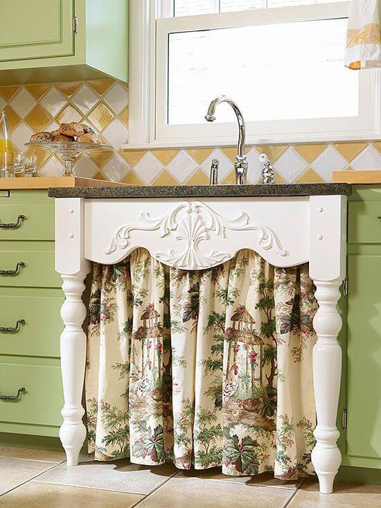 9 Total Country Style Underthesink Cabinet Curtains With