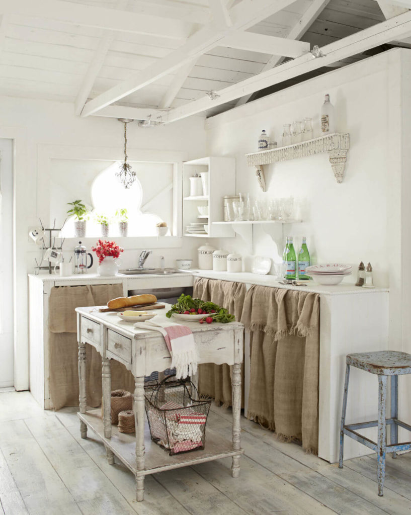 7 Traditional Rural Style DIY Burlap Curtains for UndertheSink Kitchen Cabinetry in DoubleLayere ...