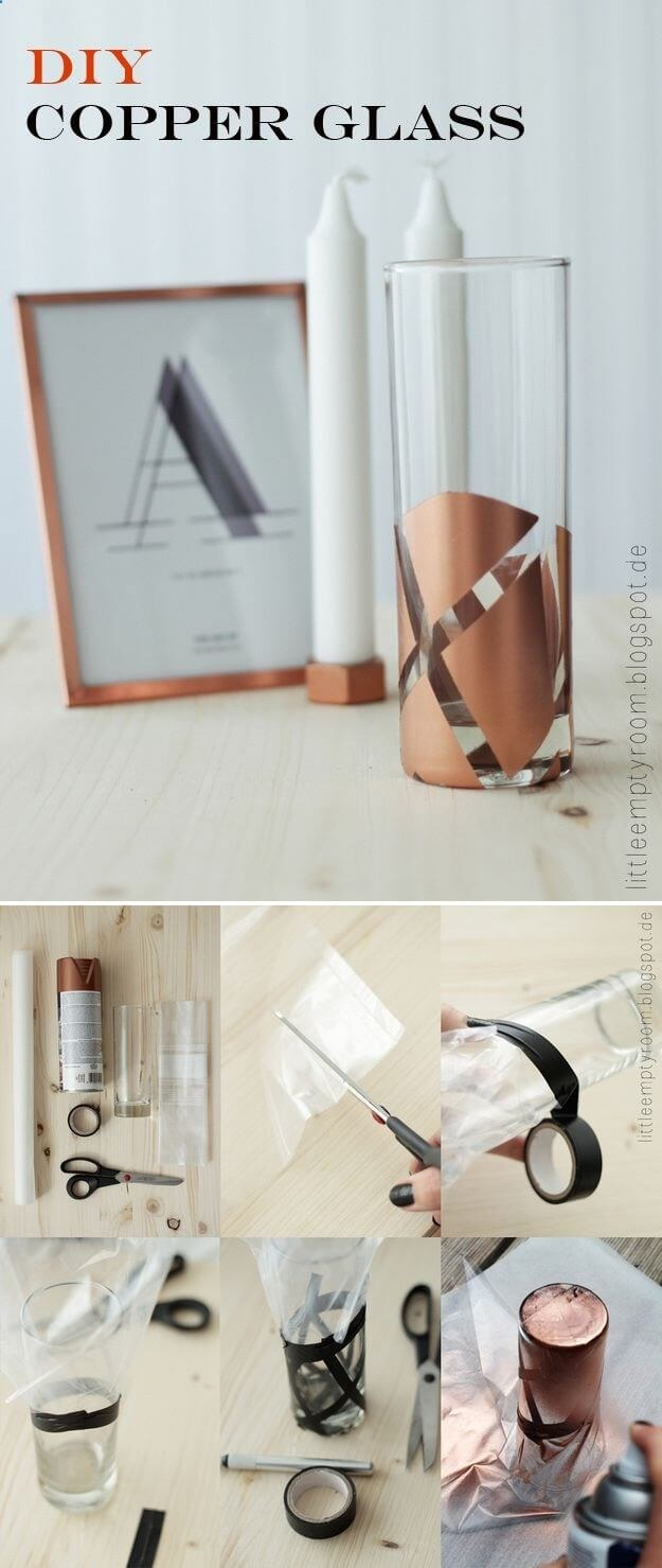 30 Turn Simple Glass Pillar Vase into a Trendy and Creative DIY Project with Appealing Copper Ac ...