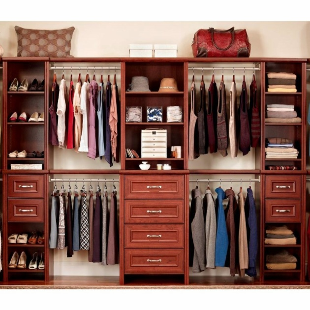 9 TwoFloored Well Organized Pretty Closet for Two Different People in One Single Cabinet