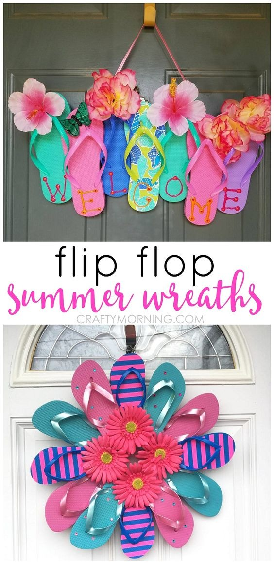22 Unique Flip Flop Wreath for Your Room Door with Some Additional Floral Decoration for Festive ...