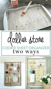 32 Upcycled Cookie Sheet Organizer with Clever Two Ways with a Rustic Paint Shade