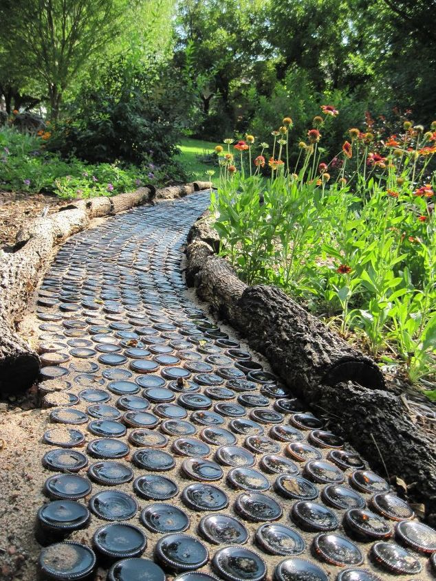 Use Tree Logs Trunks for Garden Edging and Bottles for Pathway