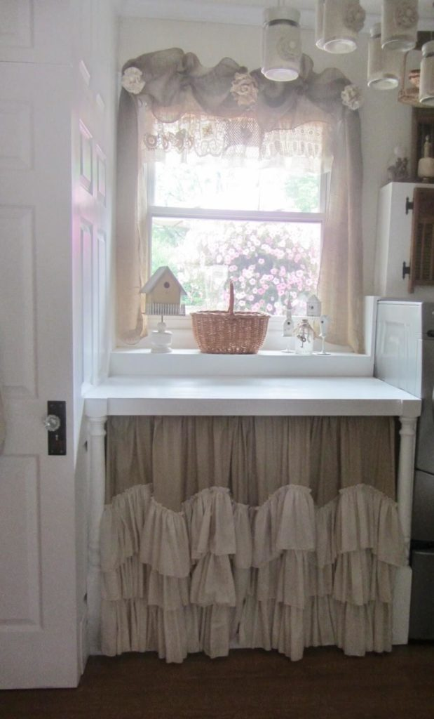25 Utterly Beautiful DIY UndertheSink Cabinet and Window Curtains in Neutral Tiered Ruffle Desig ...