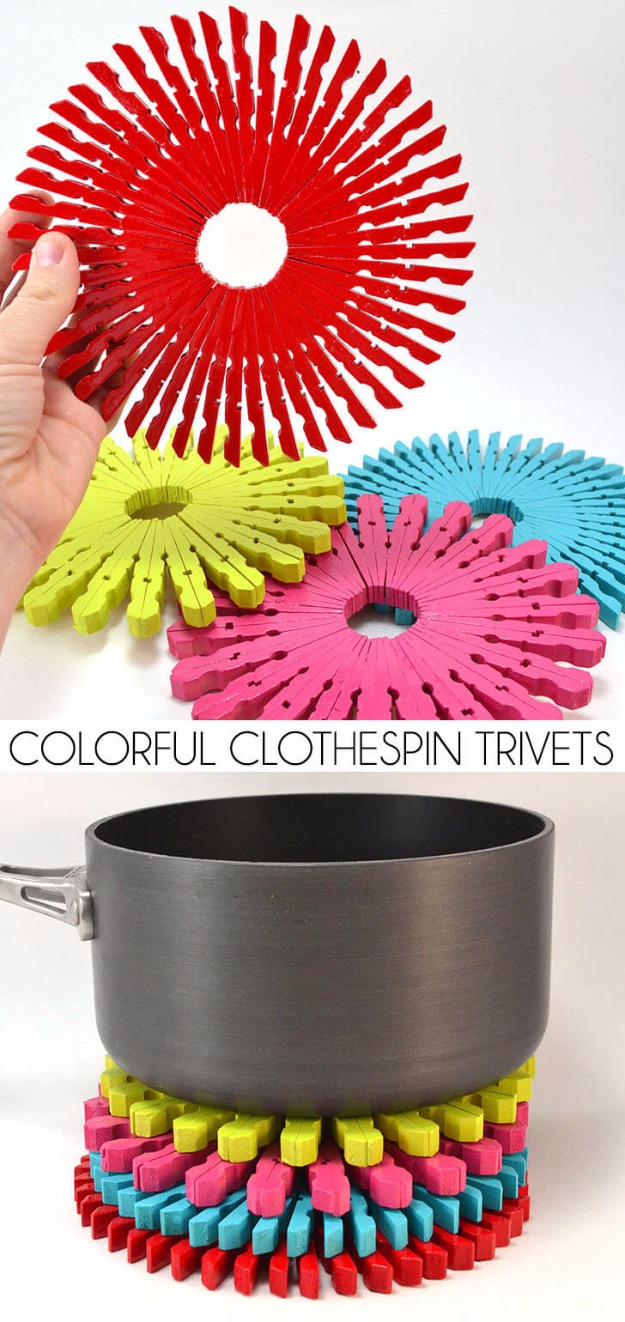 10 Vibrant and Colorful DIY Trivets made of Same Colored Clothespins in a Chic Circular Shape