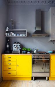 7 Vibrant Color Contrast Kitchen Look with Neutral Gray Wall Color and Canary Shade Floor Accomp ...