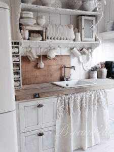 13 Vintage Style Shabby Chic UndertheSink Cabinet Curtains with Nice Flared Made of Soft Linen a ...