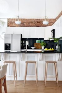 18 White Kitchen Cabinetry on Dark Backsplash over the Rustic BrickStyle Wall Design for a Best  ...
