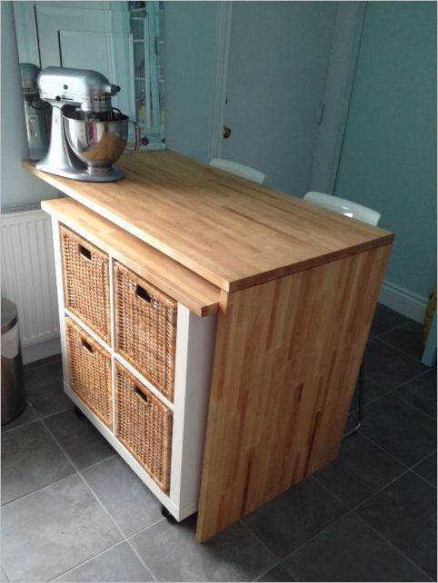 23 Wonderful IKEA Kitchen Cart with Smooth Countertop made of Old Bookshelf and Set on Wheels Fi ...