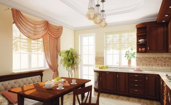 4 Wonderfully Layered Chiffon Kitchen Window Curtain with Two Different Partitions Styling for B ...